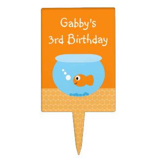 Goldfish Cute Personalized Kids Birthday Cake Pick