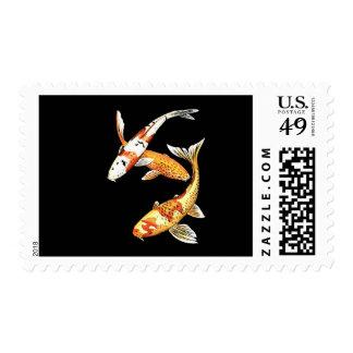 Goldfish de Koi del japonés en negro Sello Postal