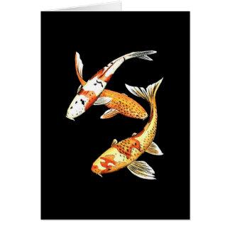 Goldfish de Koi del japonés en negro Tarjeta De Felicitación