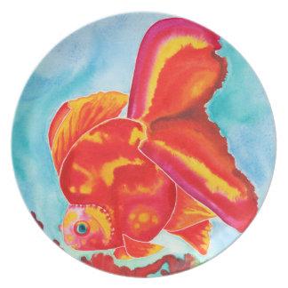 Goldfish de Ryukin decorativo/placa de cena Plato Para Fiesta