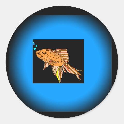 Goldfish del bloque del color pegatina redonda