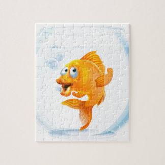 Goldfish del dibujo animado en cuenco rompecabeza con fotos