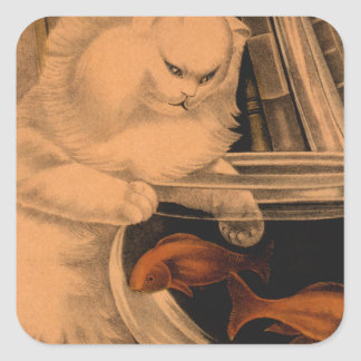 Goldfish del gato del vintage pegatina cuadrada