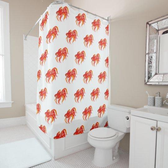 Goldfish Design Bright Aquarium Fish Shower Curtain