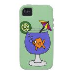 Goldfish divertido en arte tropical de la bebida vibe iPhone 4 carcasas