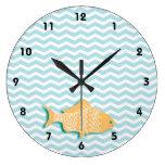 Goldfish en galón del azul de la aguamarina reloj de pared