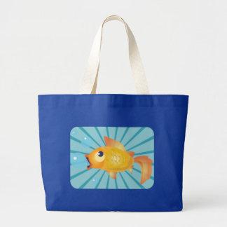 Goldfish en rayas azules bolsa tela grande