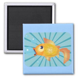 Goldfish en rayas azules iman de nevera