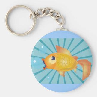 Goldfish en rayas azules llaveros