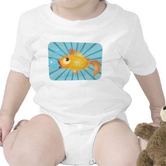Goldfish en rayas azules traje de bebé