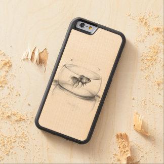 Goldfish en una caja de madera del teléfono del funda de iPhone 6 bumper arce
