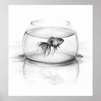Goldfish en una impresión del poster del arte del