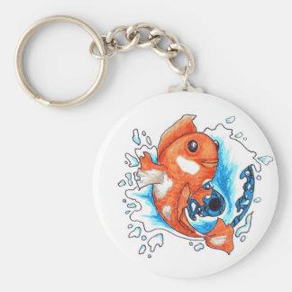Goldfish en Ying Yang Llavero Redondo Tipo Pin
