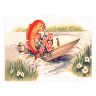 Goldfish Fish Boat Rose Daisy Postcard