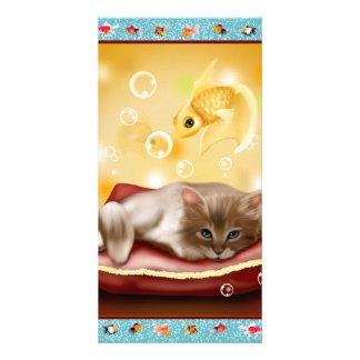 Goldfish Frame with fluffy Sleepy kitten on pillow Card