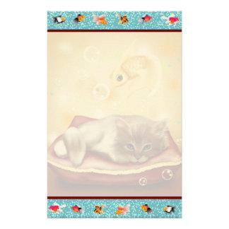 Goldfish Frame with fluffy Sleepy kitten on pillow Stationery