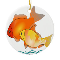 Goldfish Friends Print Design Ceramic Ornament