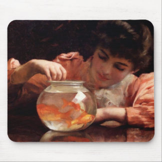 Goldfish Girl Antique Painting Mouse Pad