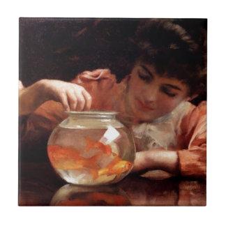 Goldfish Girl Antique Painting Tiles