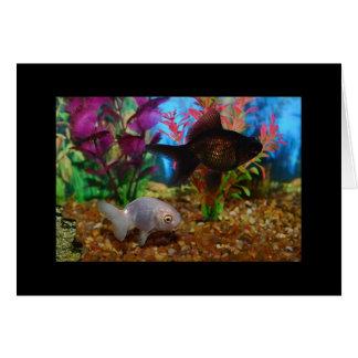 Goldfish Greeting Card Lionhead Black Moor