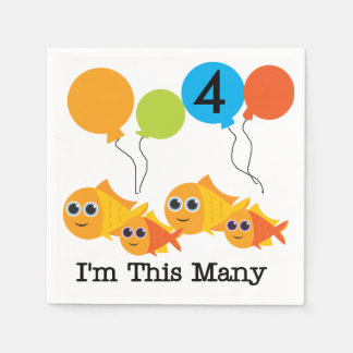 Goldfish I'm This Many 4th Birthday Paper Napkins Standard Cocktail Napkin
