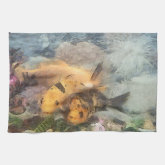 Goldfish in an aquarium towel