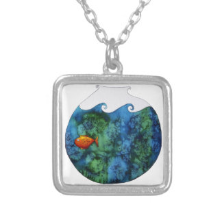 Goldfish in Bowl Square Pendant Necklace
