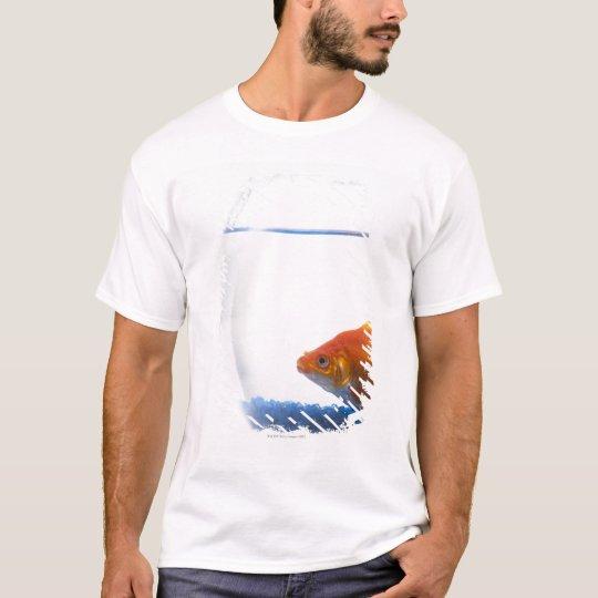 Goldfish in bowl on white background T-Shirt