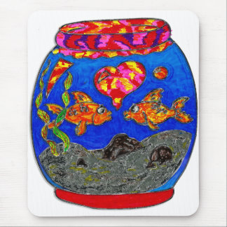 Goldfish in glass bowl mouse pad