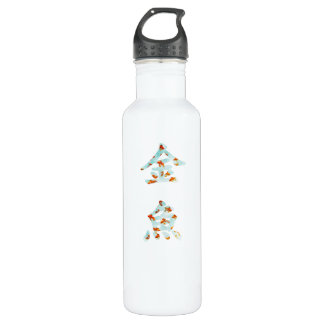 "Goldfish in ""Kingyo"" Chinese characters (blue) 24oz Water Bottle"