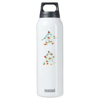 """Goldfish in """"Kingyo"""" Chinese characters (blue) Thermos Water Bottle"""
