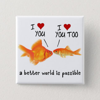Goldfish in love I heart You Button