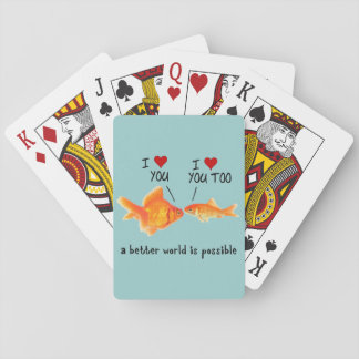 Goldfish in love I heart You Playing Cards