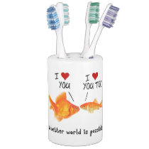Goldfish in love I heart You Soap Dispenser And Toothbrush Holder