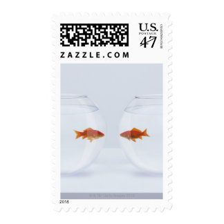 Goldfish in separate fishbowls looking face to postage