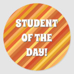 [ Thumbnail: Goldfish-Inspired Colored Stripes Pattern Round Sticker ]