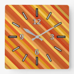[ Thumbnail: Goldfish-Inspired Colored Stripes Pattern Square Wall Clock ]
