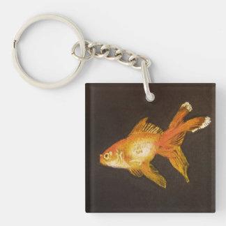 Goldfish Single-Sided Square Acrylic Keychain