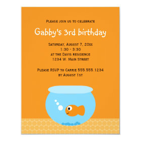 Goldfish Kids Birthday Invitations 4.25