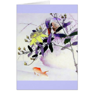 Goldfish Kingfisher Japanese print Greeting Cards