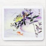 Goldfish Kingfisher Japanese print Mouse Pad