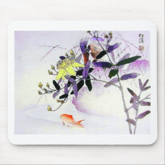 Goldfish Kingfisher Japanese print Mouse Pad