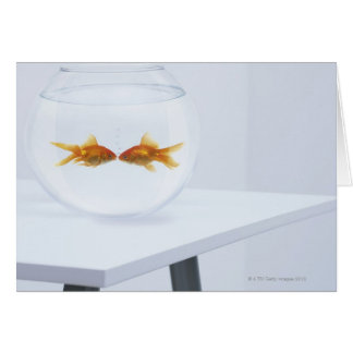 Goldfish kissing in fishbowl card