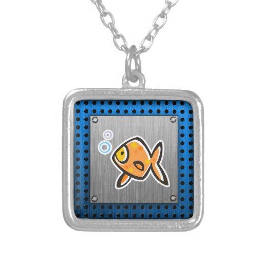 Goldfish; Metal-mirada cepillada Colgantes Personalizados
