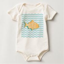 Goldfish on aqua blue chevron baby bodysuit