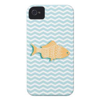 Goldfish on aqua blue chevron iPhone 4 cover