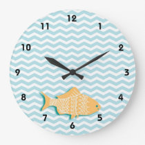 Goldfish on aqua blue chevron large clock