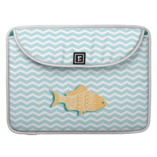 Goldfish on aqua blue chevron MacBook pro sleeve