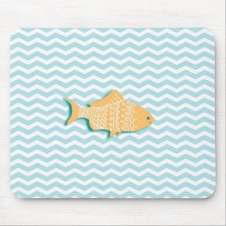 Goldfish on aqua blue chevron mouse pad