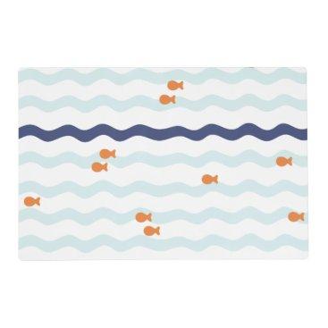 Beach Themed Goldfish Pattern Nautical Placemat